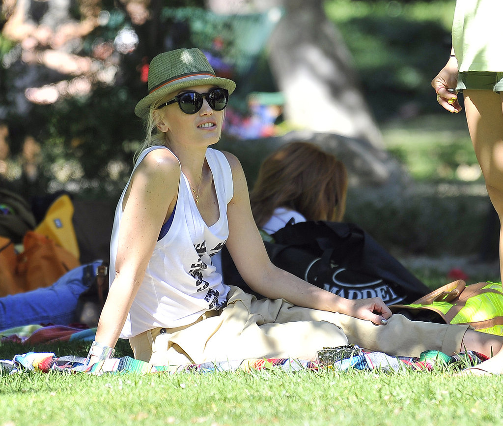Gwen Stefani looked cute and casual as she watched her boys play.