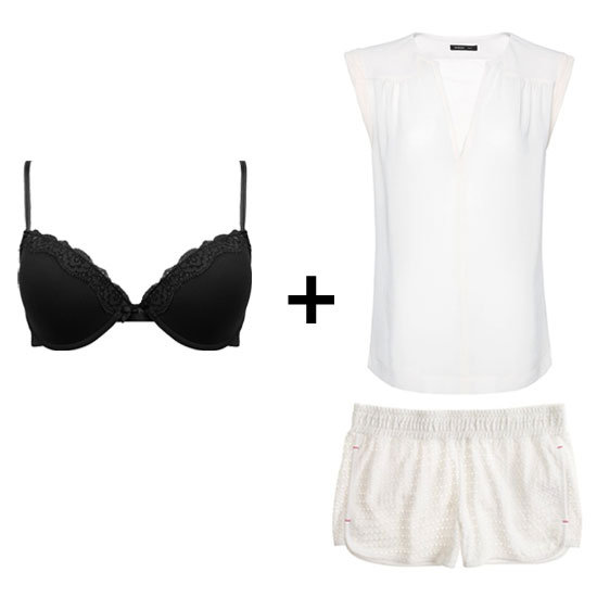 For this laid-back white vs. black outfit, we're invoking the power of the peekaboo effect. Don a black lace bra under a semisheer loose-fitted white tank top, then tuck your top into white shorts. It's a subtle pop of black and a sexy one at that. Get the Look:   Madewell Seashell Eyelet Shorts ($40)  Mango Stand Collar Blouse ($40)  Forever 21 Lace Trim Bra ($8)