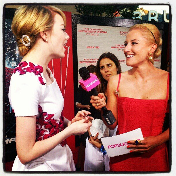 Emma Stone talked to us at the LA premiere of The Amazing Spider-man. Source: Instagram user popsugar