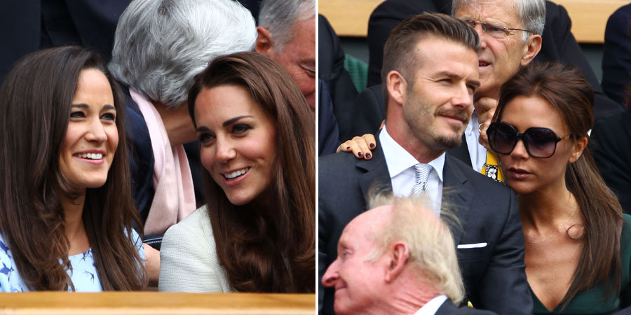 Kate and Pippa Watch the Wimbledon Finals With David and Victoria
