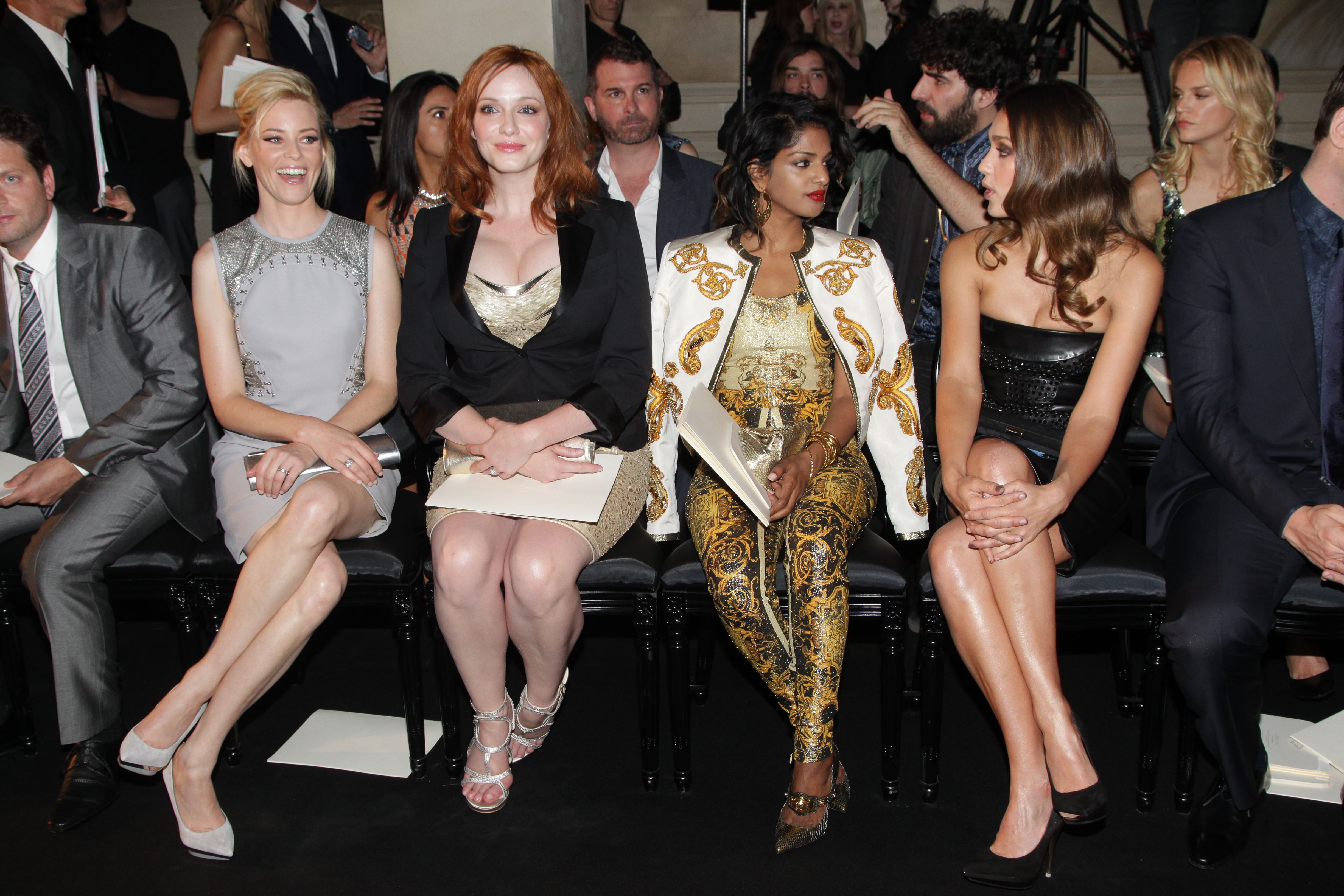Elizabeth Banks, Christina Hendricks, M.I.A., and Jessica Alba got together at the Versace fashion show in Paris.