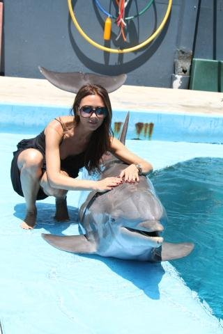Victoria Beckham swam with the dolphins. Source: Twitter user victoriabeckham