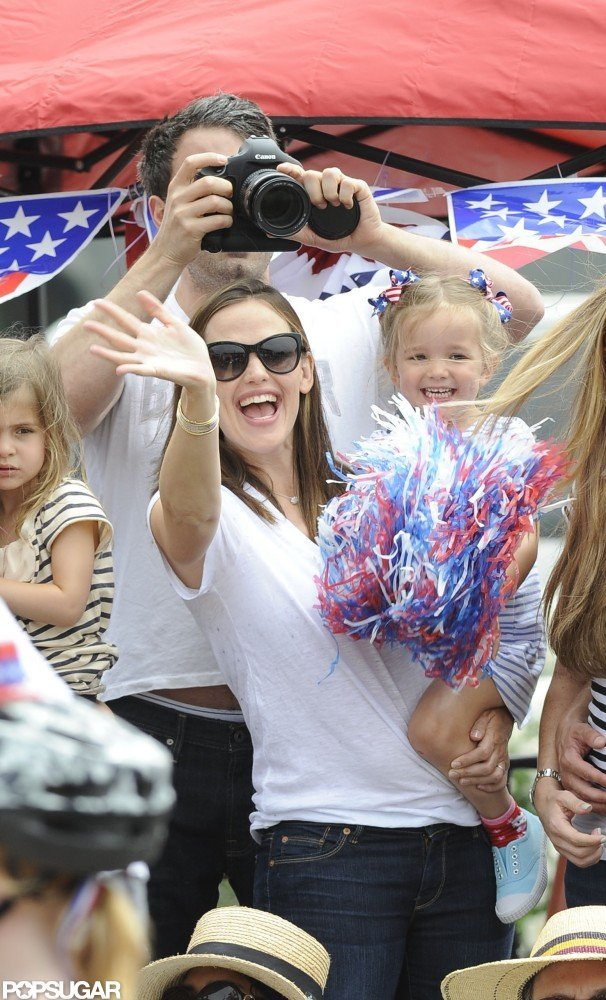 The Garner-Afflecks celebrated the Fourth of July at a holiday parade near their Brentwood, CA, home in 2012.