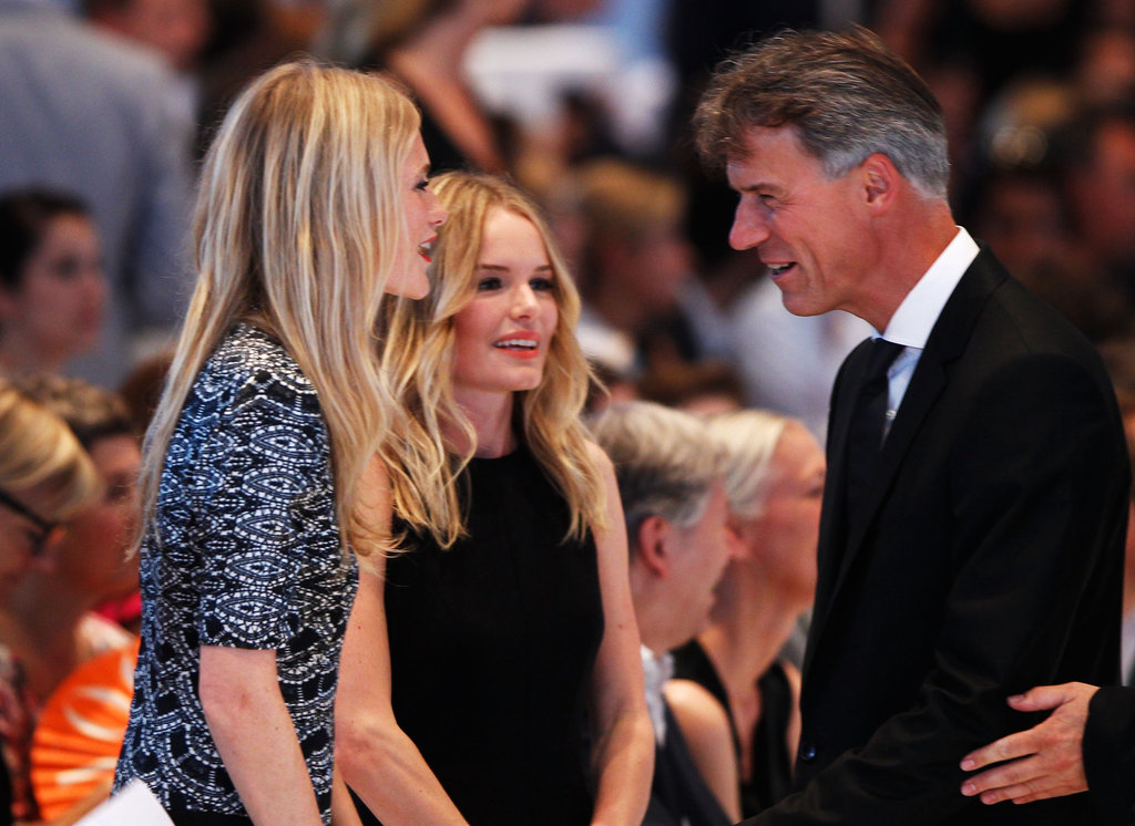 Kate Bosworth talked to Claus-Dietrich Lahrs and Poppy Delevingne during the Hugo by Hugo Boss fashion show.