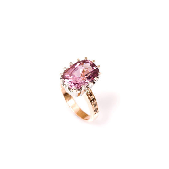 Violet pink spinel cognac diamond ring, $10,800, Love and Hatred