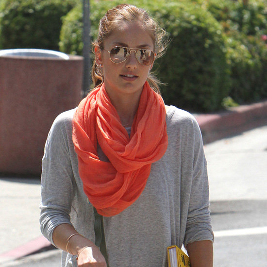 Minka Kelly Wearing an Orange Scarf