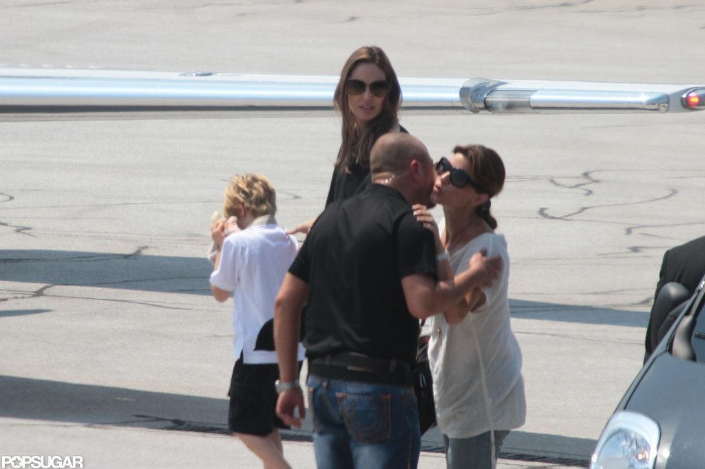 Angelina Jolie left Sarajevo with Shiloh Jolie-Pitt.
