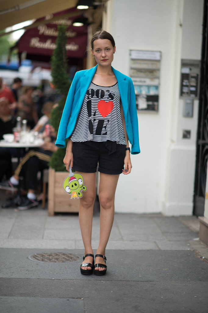A cool way to jazz up your shorts? This style pro opted for a printed tee and a lively blazer for a seriously cool result. Photo courtesy of Adam Katz Sinding