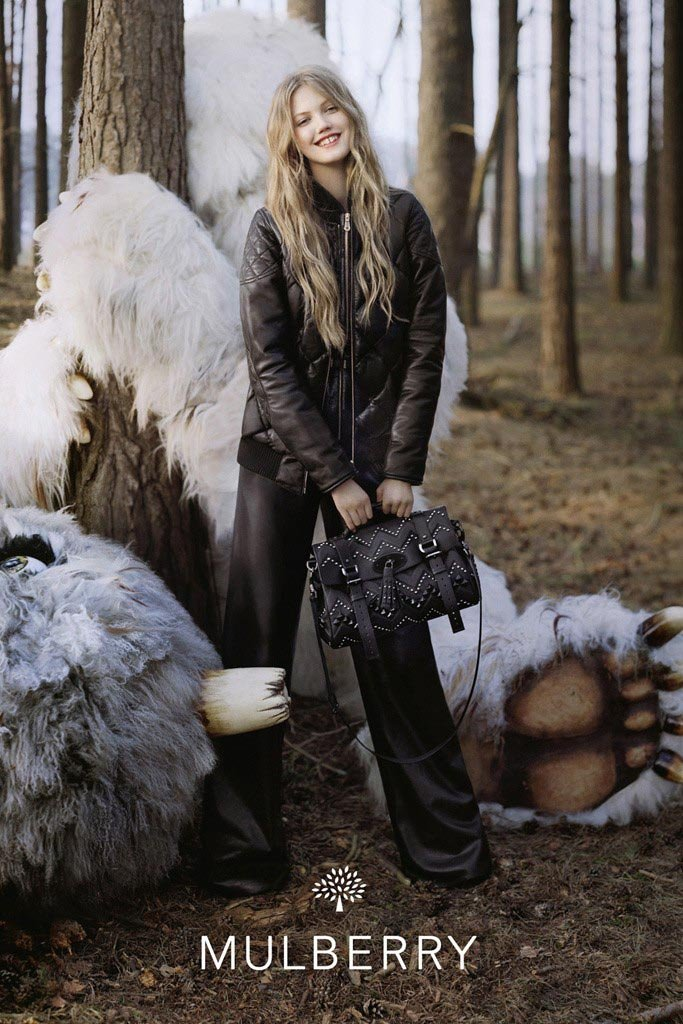 Lindsey Wixson looks adorable in Mulberry's fantastical Fall ads.