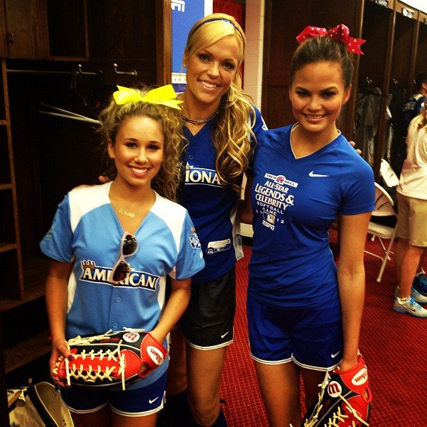 Chrissy Teigen played in the All-Star Legends & Celebrity Softball Game with Jennie Finch and Haley Reinhart. Source: Instagram user chrissy_teigen