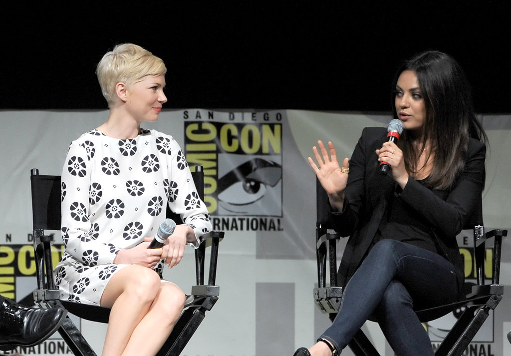 Mila Kunis spoke onstage with Michelle Williams at Comic-Con.