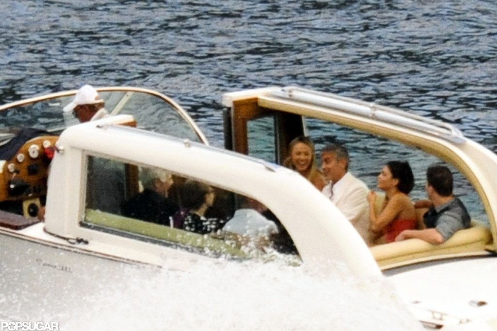 Stacy Keibler was joined by Channing Tatum and Jenna Dewan during a boat ride near George Clooney's Lake Como villa in July 2012.