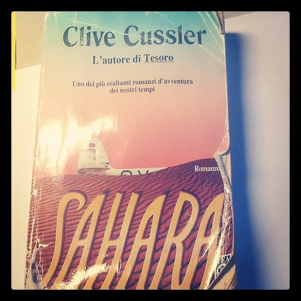 "Maggiepaz is rereading Clive Cussler's Sahara. She says, ""An Old Best seller, always good to have a laugh with."""