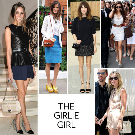 From scalloped details to chic threaded chain straps to plush quilted leather, the bag that most defines your girlie look can be pinpointed back to the classic Chanel shoulder bag iteration or the Mulberry mini Lily. The accents you value most happen to be soft, sweet, and overtly pretty. You may spring for a tweed version or a bolder hue, but when push comes to shove, your roots remain superfeminine to their core. So, what does that say about you outside of what you're carrying on your arm? You're the girl who can always be counted on to look totally put together at the drop of a hat, you've lost count of the amount of dresses and skirts things you own, and when you have a bad day, you head to Magnolia Bakery for a sweet cupcake pick-me-up.   The Bags You Love: Mulberry mini Lily, Chanel large quilted flap bag, Chloé Marcie messenger, Diane von Furstenberg Lytton clutch, and Tory Burch Kipp shoulder bag.  Iconic Inspiration: Drawing from the likes of ultrafeminine types like Brigitte Bardot and Sophia Loren, you identify with a ladylike appeal and overt homage to sweet details. These days, Olivia Palermo, Nina Dobrev, and Taylor Swift top your girlie-girl inspiration list.  What's on Your iPod: Beyoncé, Oh Land, Lady Gaga, and Katy Perry.   In this photo (clockwise from left): Olivia Palermo, Hanneli Mustaparta, Alexa Chung, Nina Dobrev, and Kate Bosworth