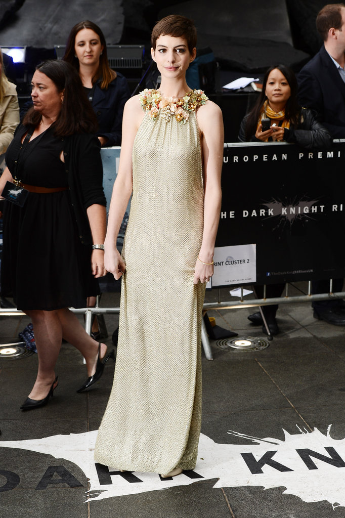 Anne Hathaway wore a long gown to the Dark Knight Rises UK premiere.