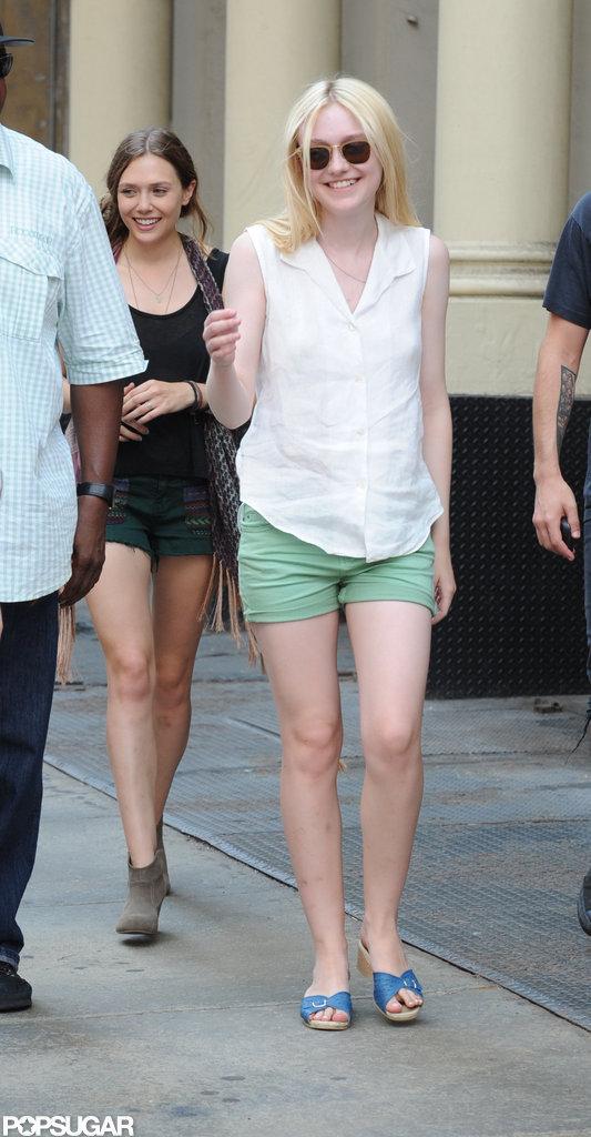Dakota Fanning was all smiles on the set of Very Good Girls.
