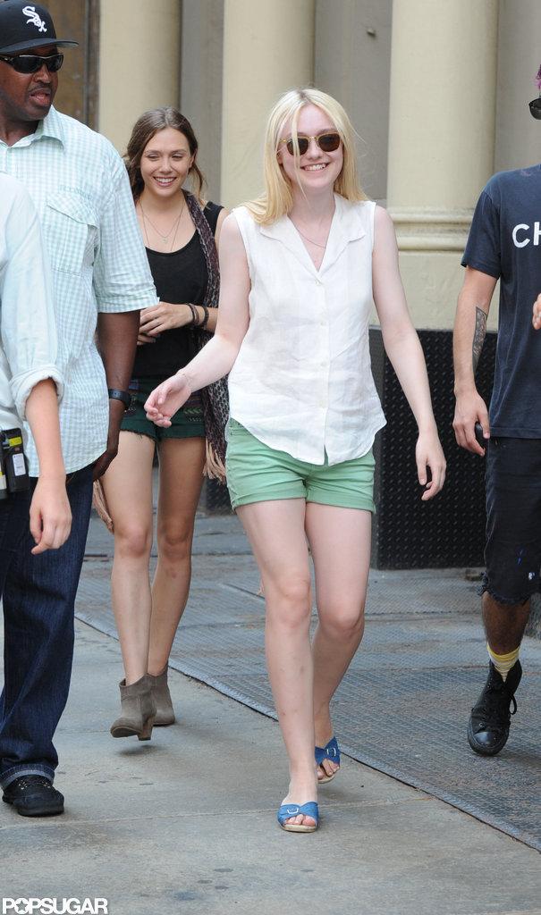 Dakota Fanning on the set of her new film in New York City.