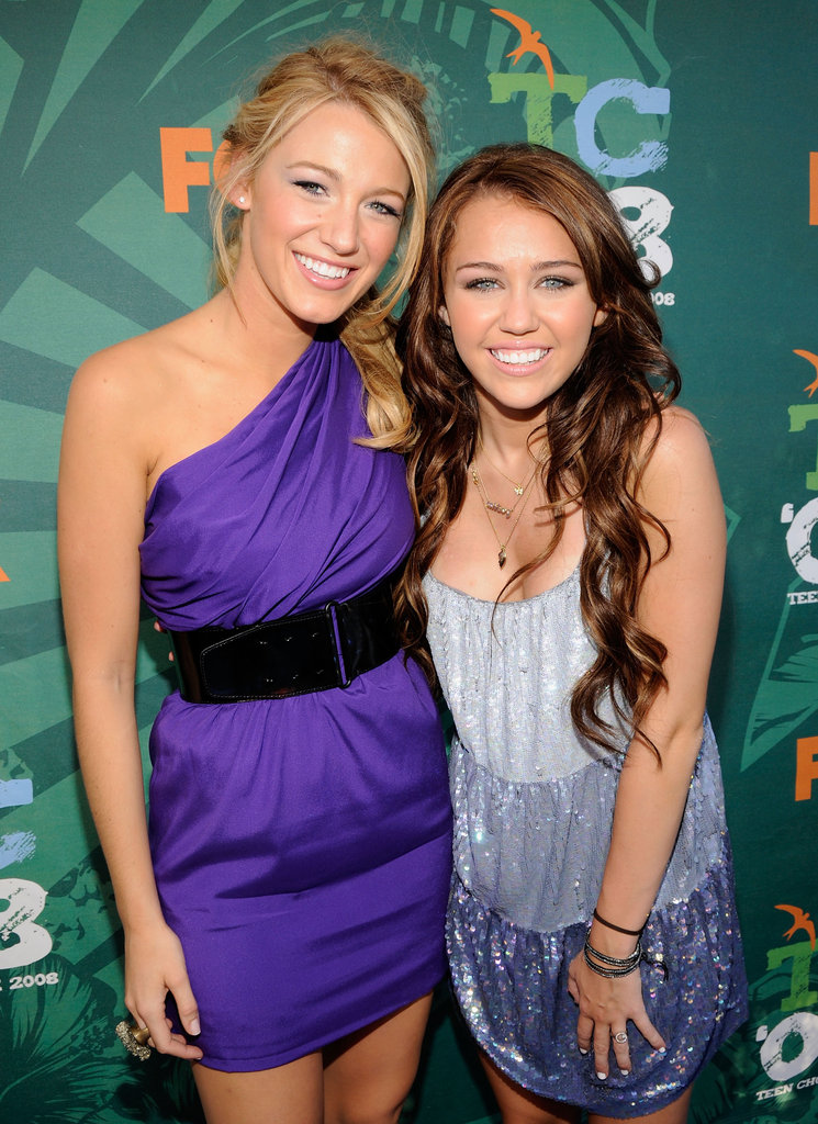 At the Teen Choice Awards in 2008, Blake Lively and Miley Cyrus were all smiles together on the red carpet.