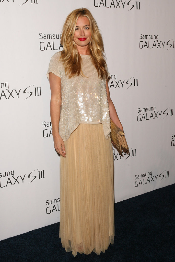 Cat styled a fun sequin top with a flowy nude skirt for a Samsung event in LA in June.