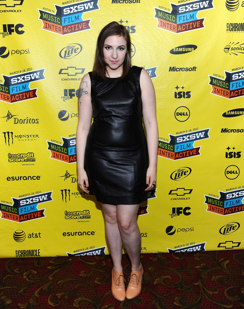 Lena offset a tough leather LBD with neutral-toned lace-up flats at 2012 SXSW.