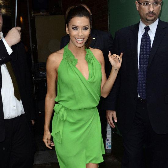 Eva Longoria Wearing Green Wrap Dress