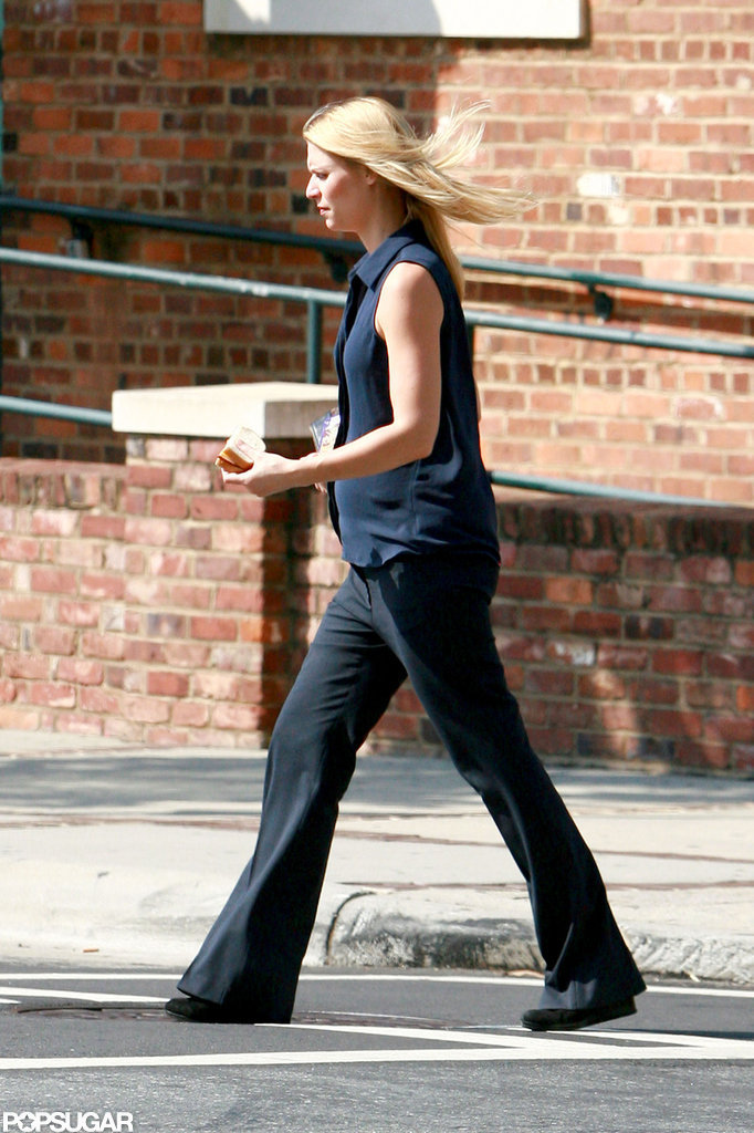 Claire Danes took a break from filming to grab a ham sandwich.