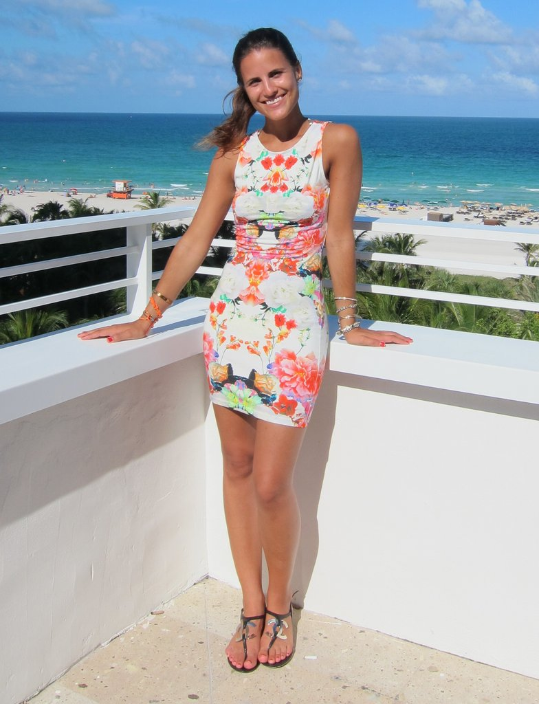 Giejo's Gabby Sabharwal struck a pose in a printed H&M dress.