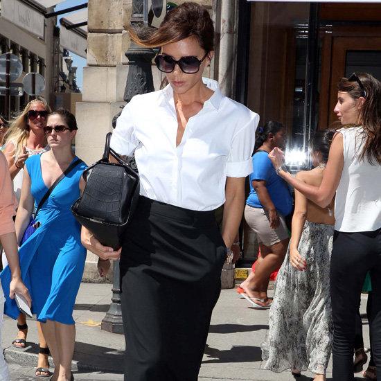 Victoria Beckham Wearing a Black Maxi Skirt