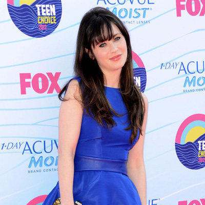 Zooey Deschanel in Blue Monique Lhuillier Dress at 2012 Teen Choice Awards