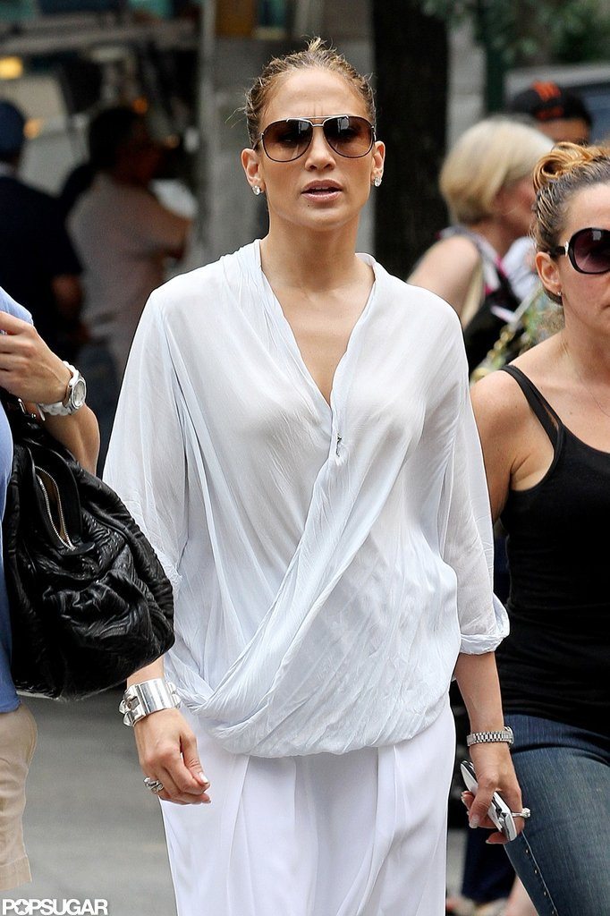 Jennifer Lopez wore an all-white jumpsuit in NYC.