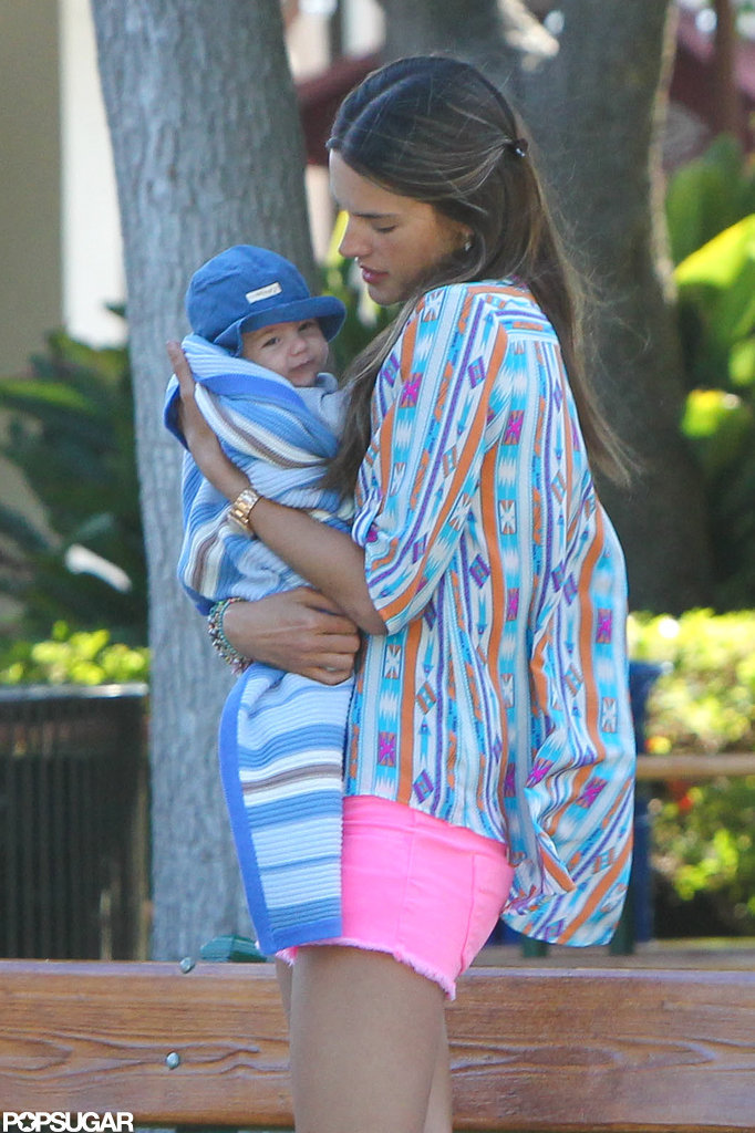 Alessandra Ambrosio held onto her son Noah.
