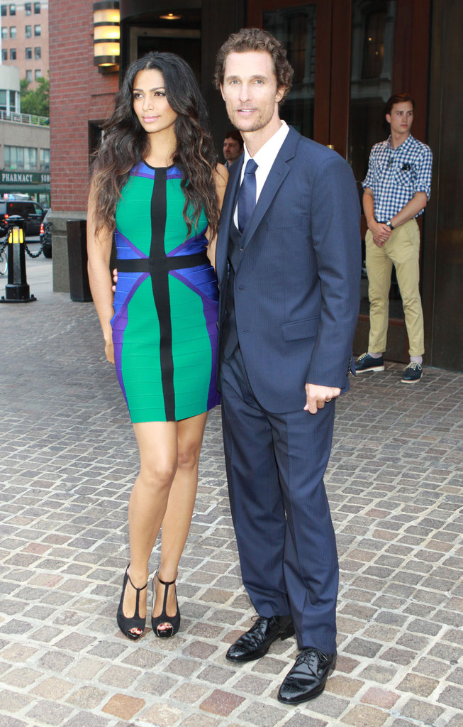 Matthew McConaughey and Camila Alves posed together outside of a screening of Killer Joe in NYC.