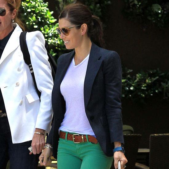 Jessica Biel Wearing Green Jeans