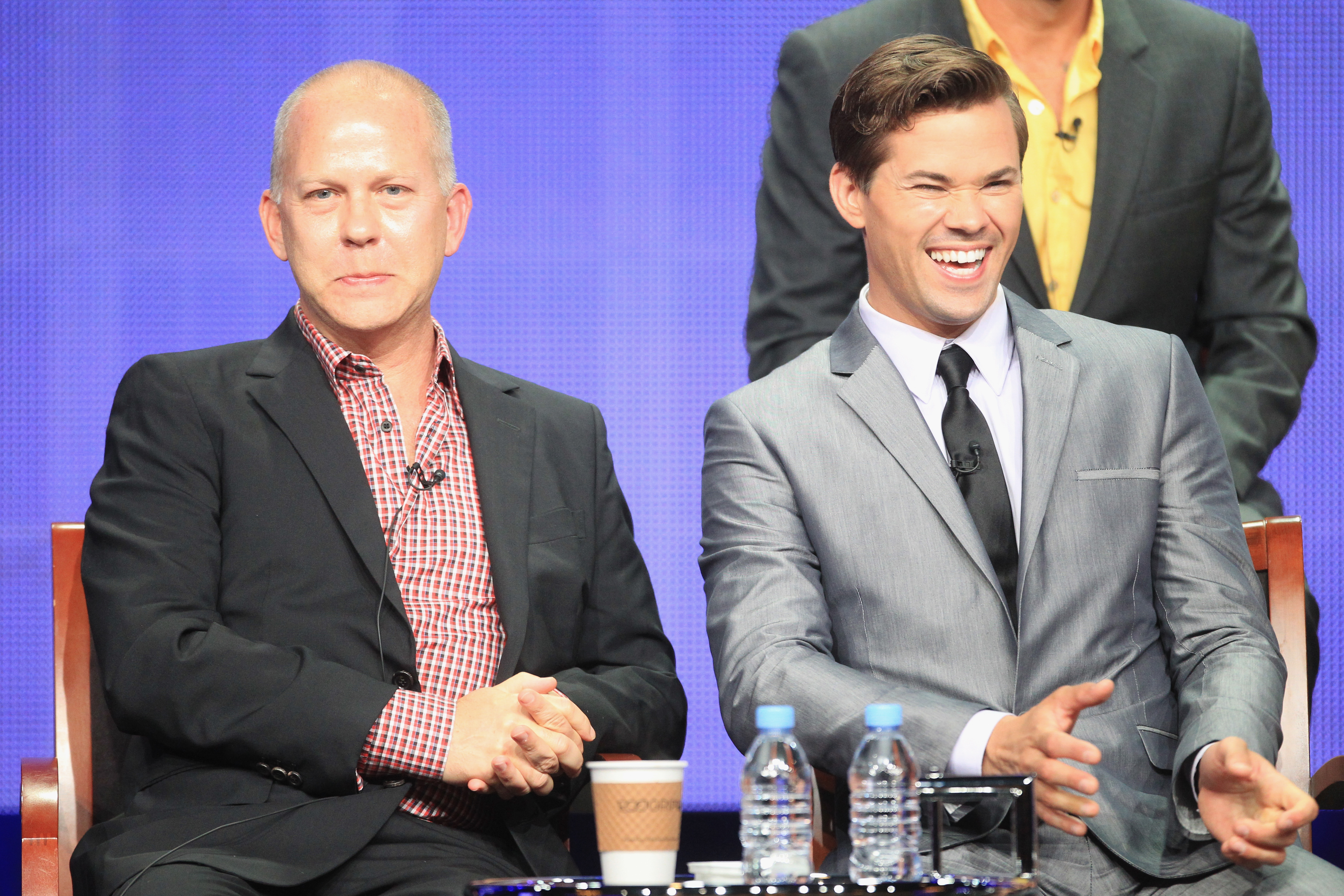 Ryan Murphy sat beside star Andrew Rannells at the panel for The New Normal.