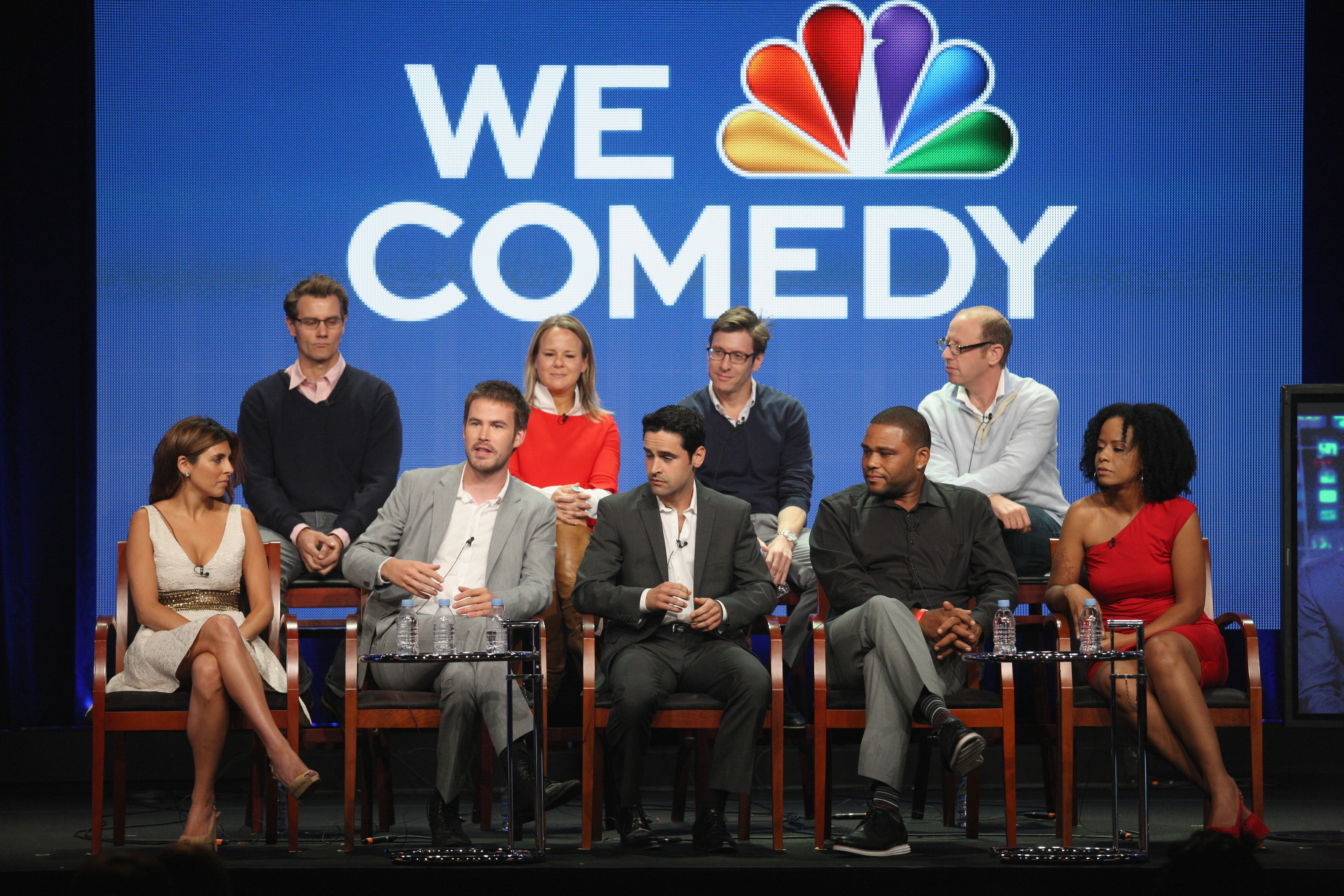 Guys With Kids executive producers Kenny Schwartz, Amy Ozols, Charlie Grandy and Rick Wiener joined actors Jamie Lynn Sigler, Zach Cregger, Jesse Bradford, Anthony Anderson and Tempestt Bledsoe onstage during NBC's 2012 Summer TCA tour.