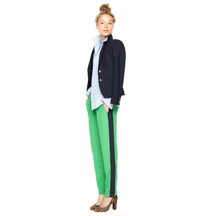 We're already obsessed with tuxedo striped pants, look to closet staples like a blazer and an oxford button-up to lend that prep-school appeal — then counter with a pair of more high-impact pumps.