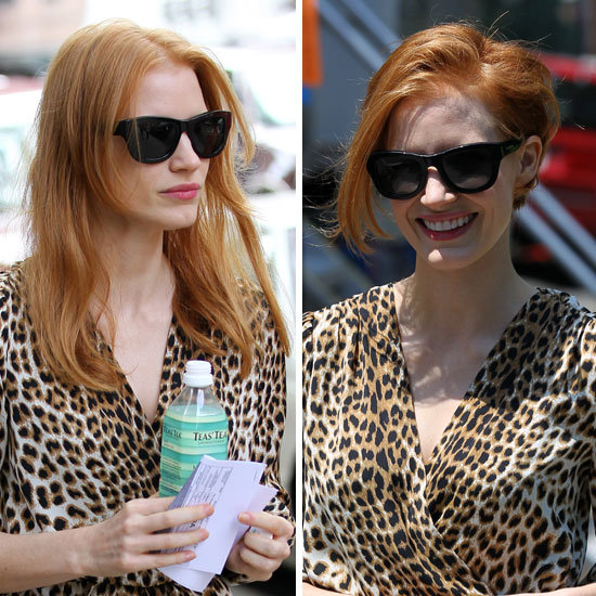 Jessica Chastain wore a wig on the set of her new film, The Disappearance of Eleanor Rigby. We love the style and think she could really pull it off!