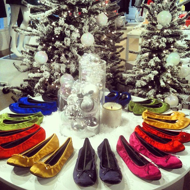 We got a sneak peek of the Holiday goodies — and a color wheel of ballet flats — at Loft.