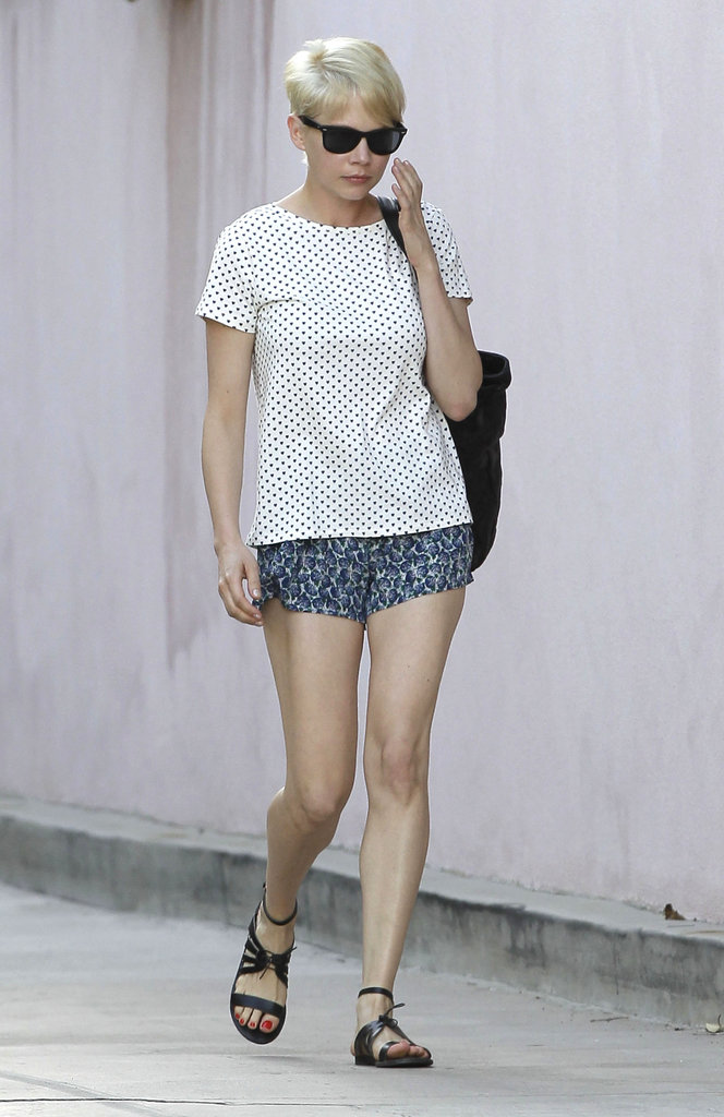 Michelle Williams wore floral shorts.