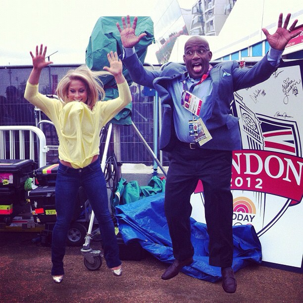 Shawn Johnson and Al Roker got some serious air. Source: Instagram user shawnjohn08
