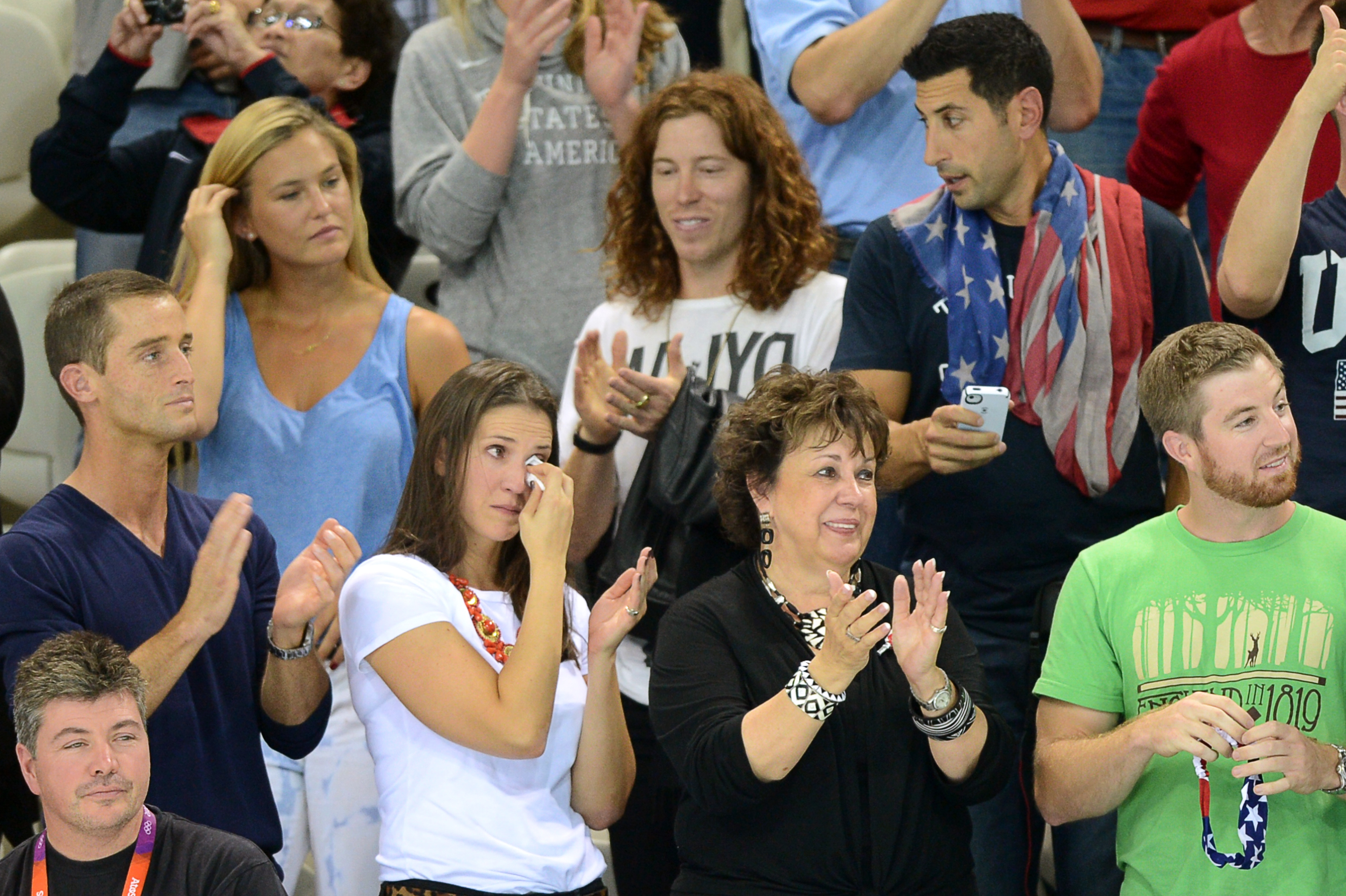 Bar Refaeli and Shaun White Cheer On Michael Phelps to Victory