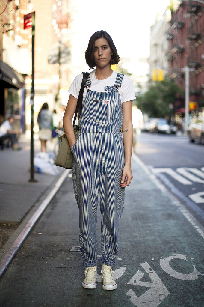 We're loving the look of these overalls and easy kicks — a little more playful than your average denim. Source: Adam Katz Sinding
