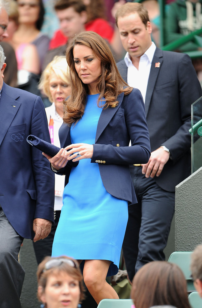Kate Middleton paired a blue blazer with her Stella McCartney dress.