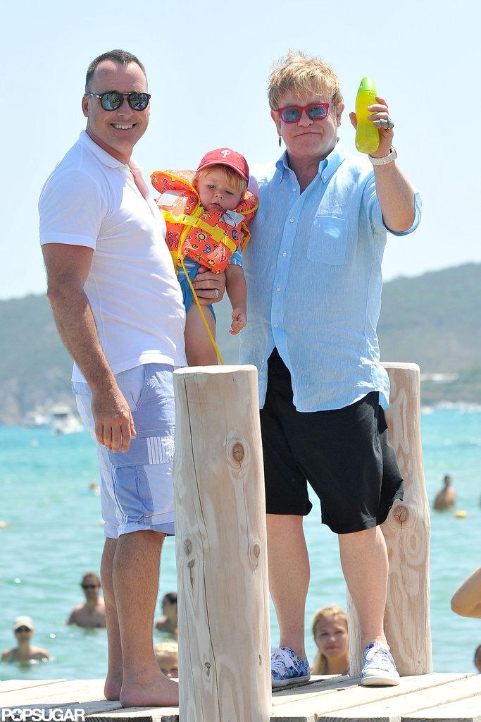 Elton John vacationed with David Furnish and their son Zachary Furnish-John.