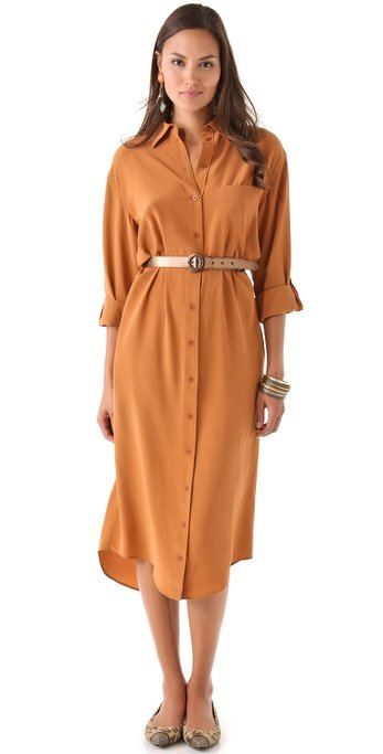 This is great for right now, but it's long enough and in the perfect shade for Fall, too. This dress would look amazing with a pair of brown suede lace-up boots. Alice + Olivia Aileen Shirtdress ($396)