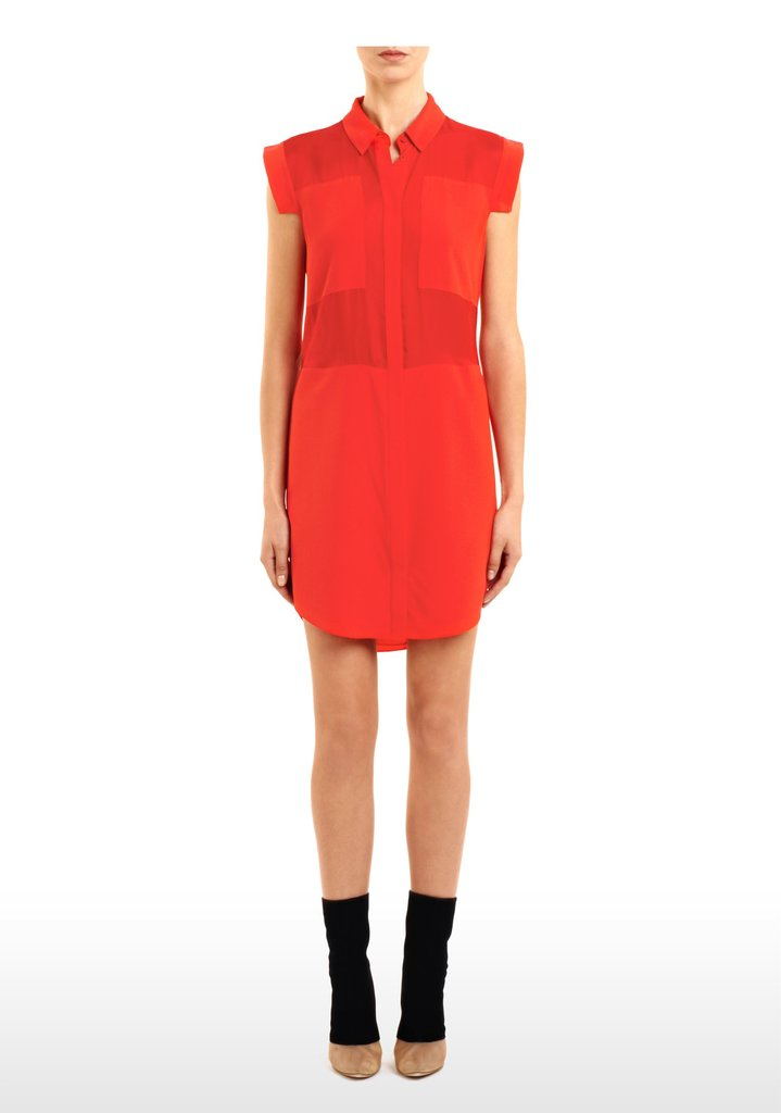 We've been seeing a lot of bold-hued statement dresses lately, with Eva Mendes's daytime orange iteration at top of mind. Follow suit on this trend, but put a red, polished collar spin on it. Want to give it an edgier feel? Wear it with a leather jacket and ankle boots, too. Alexander Wang Crepe de Chine & Mesh Combo Shirt Dress ($285)