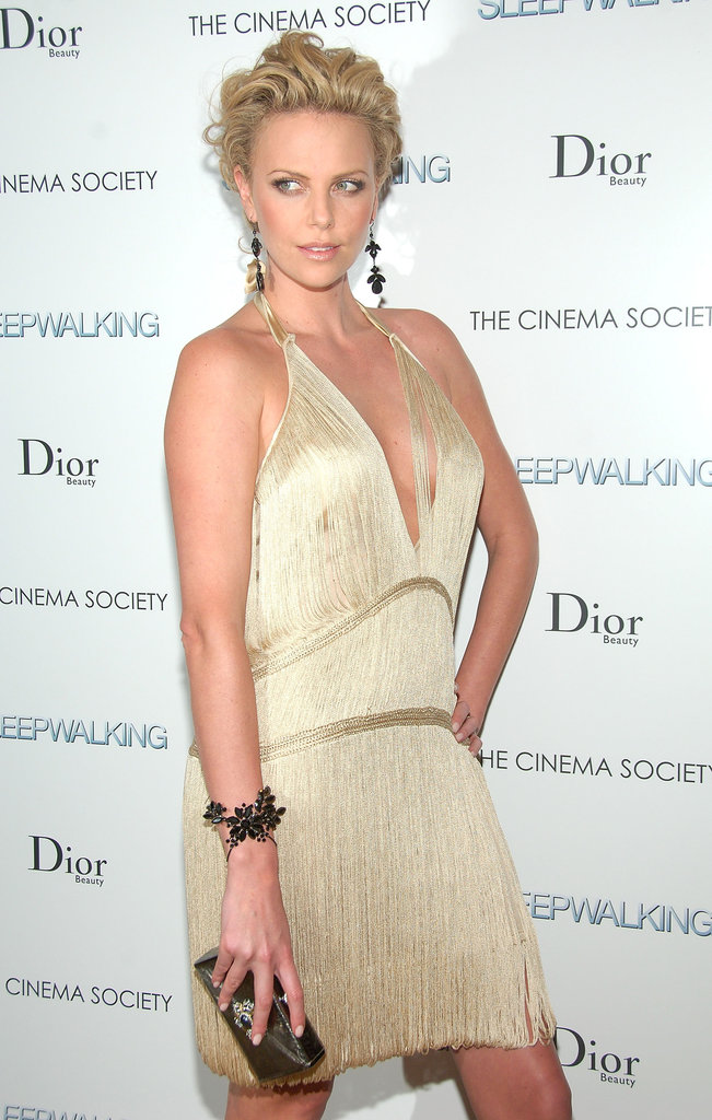 Charlize Theron channeled a bit of '70s-inspired drama at a Dior Beauty screening of Sleepwalking in March 2008.