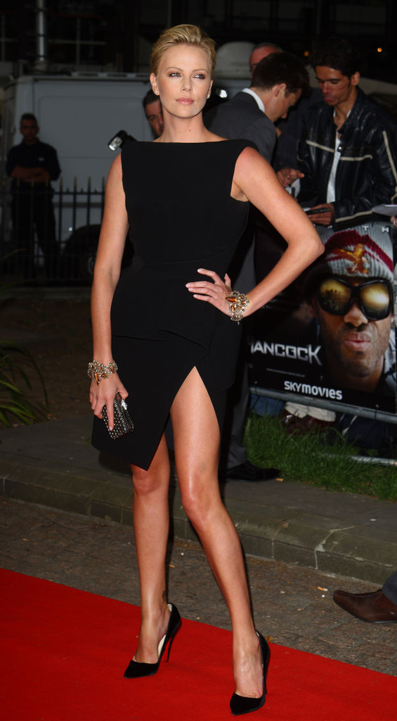 Charlize Theron showed some leg at the June 2008 premiere of Hancock in London.