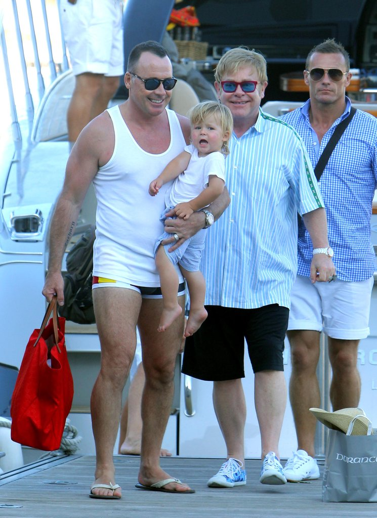 Elton John, his partner, David Furnish, and their son, Zachary John-Furnish, spent time together vacationing in St.-Tropez.