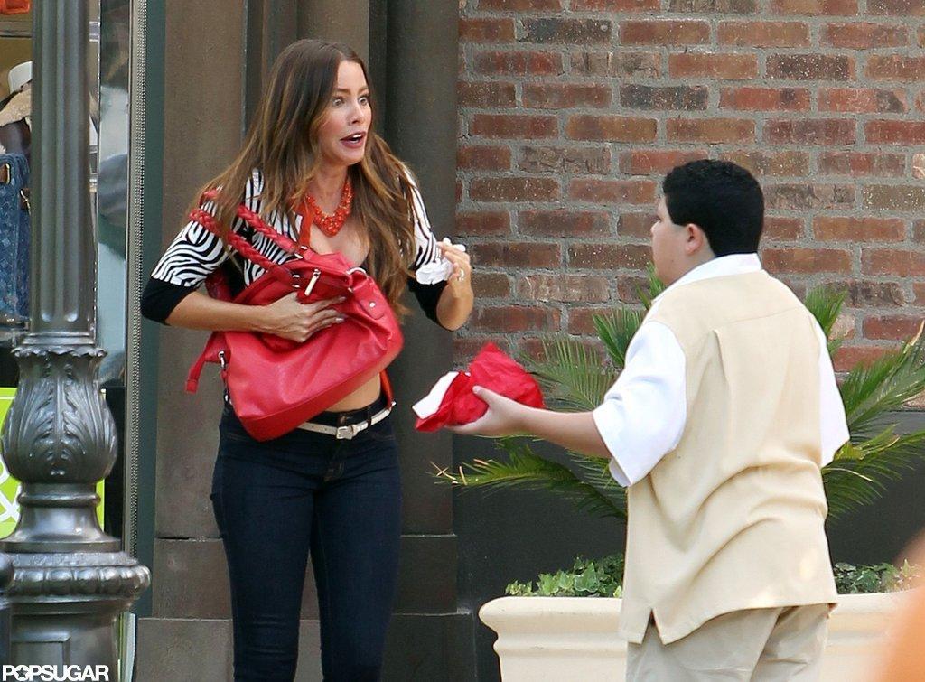 Sofia Vergara Bares a Baby Bump in a Bra on Set